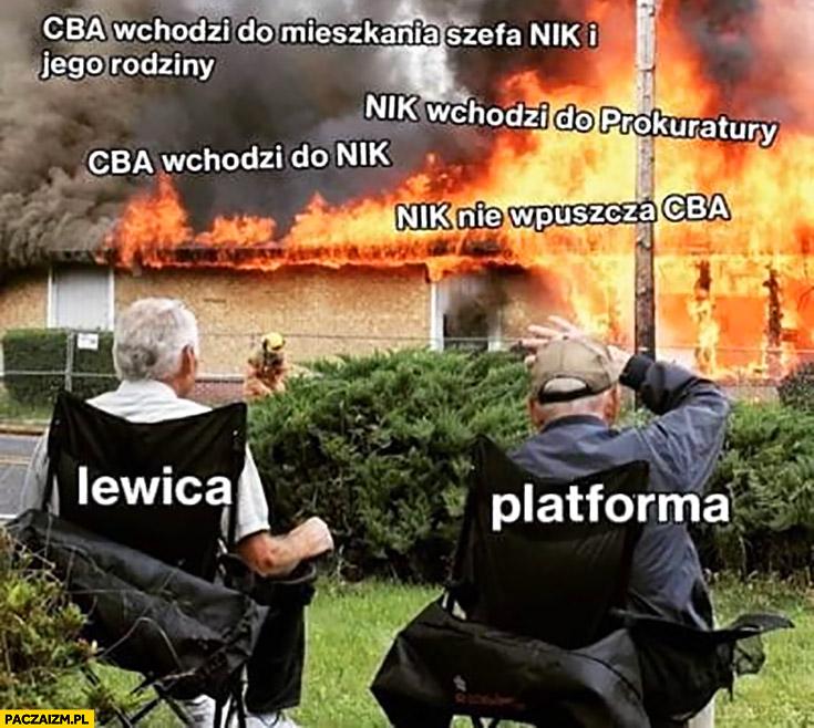 Platforma lewica oglądają pożar PiSu wojna miedzy PiSem CBA a NIK