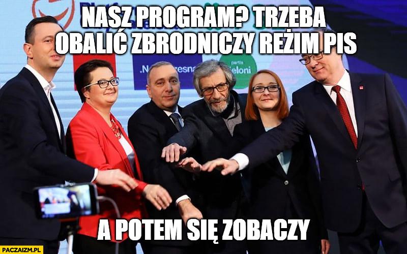 Platforma PO koalicja europejska nasz program trzeba obalić zbrodniczy reżim PiS a potem się zobaczy
