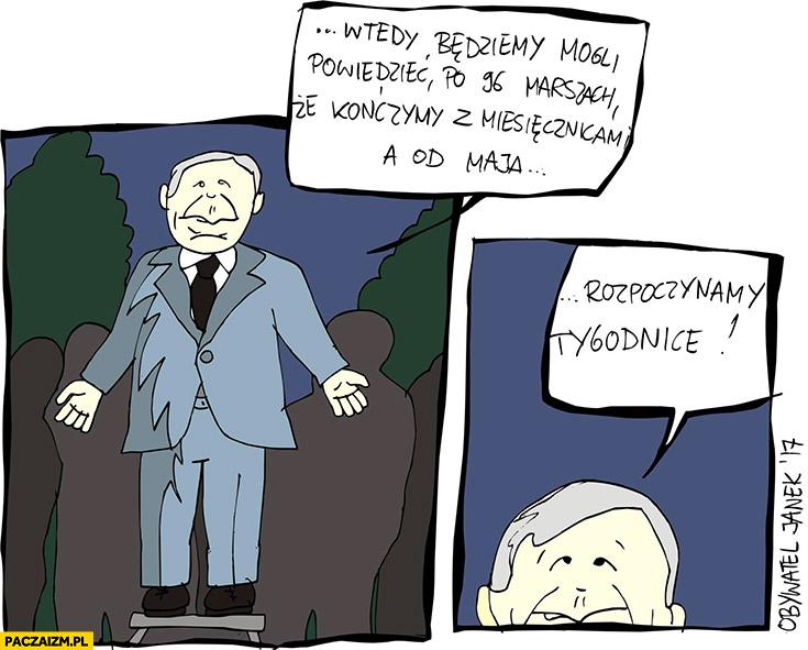 Po 96 marszach kończymy z miesięcznicami a od maja rozpoczynamy tygodnice Kaczyński Obywatel Janek