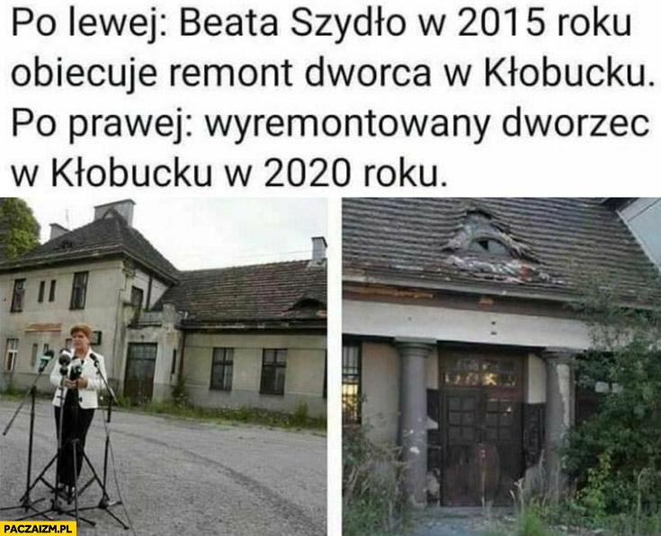 Po lewej Beata Szydło w 2015 obiecuje remont dworca w Kłobucku, po prawej wyremontowany dworzec w 2020 roku