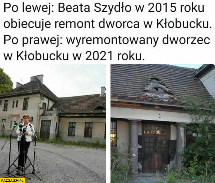 Po lewej Beata Szydło w 2015 roku obiecuje remont dworca w Kłobucku, po prawej nie wyremontowany dworzec w 2021 roku
