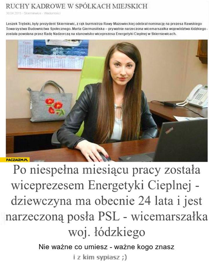 Po miesiącu pracy została wiceprezesem energetyki cieplnej 24 latka narzeczona posła PSL wicemarszalka