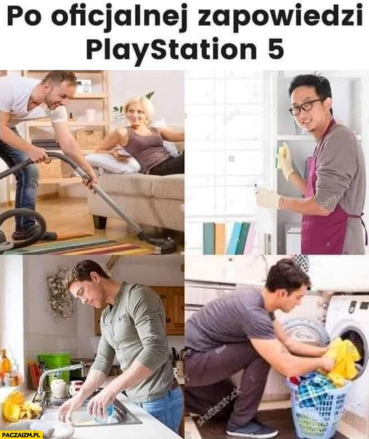 Po oficjalnej zapowiedzi PlayStation 5 facet sprząta zmywa pierze