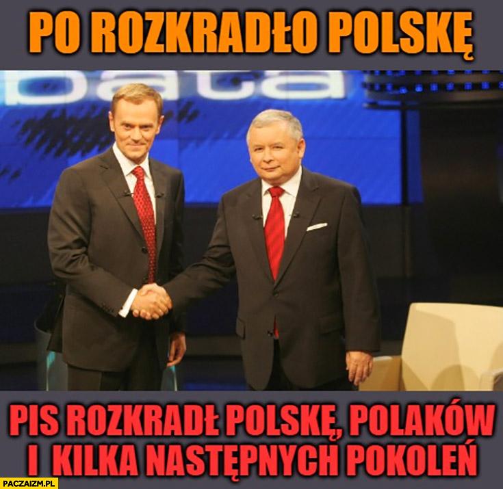 PO platforma rozkradła Polskę PiS rozkradł Polskę, polaków i kilka następnych pokoleń