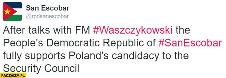 Po rozmowach z Waszczykowskim San Escobar w pełni wspiera Polską kandydaturę do rady bezpieczeństwa ONZ