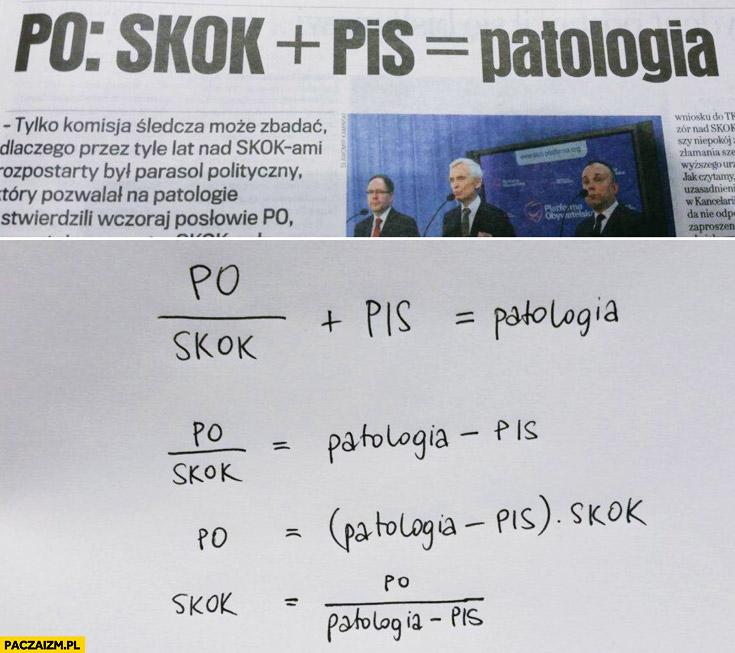 PO skok plus PiS równa się patologia równanie