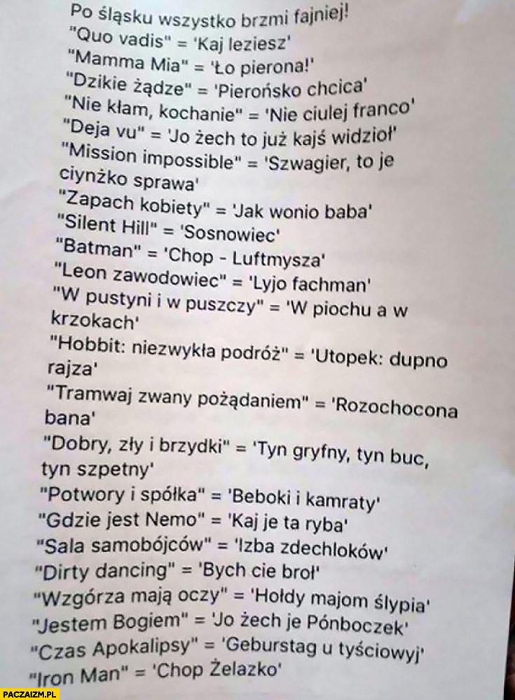Po śląsku wszystko brzmi fajniej lista słowniczek tłumaczenia