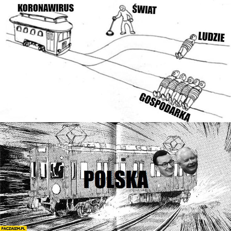 Pociąg tramwaj koronawirus świat: ludzie albo gospodarka, Polska: rozwala to i to multi track drifting Morawiecki Kaczyński