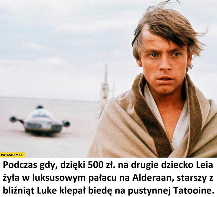 Podczas gdy dzięki 500zł na dziecko Leia żyła w luksusowym pałacu na Alderaan Luke klepał biedę na pustynnej Tatooine