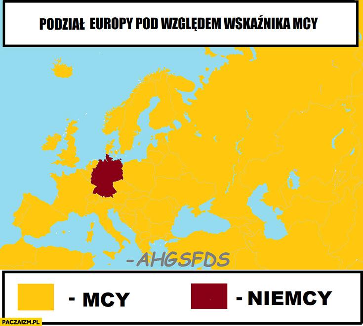Podział Europy pod względem wskaźnika mcy Niemcy ahgsfds