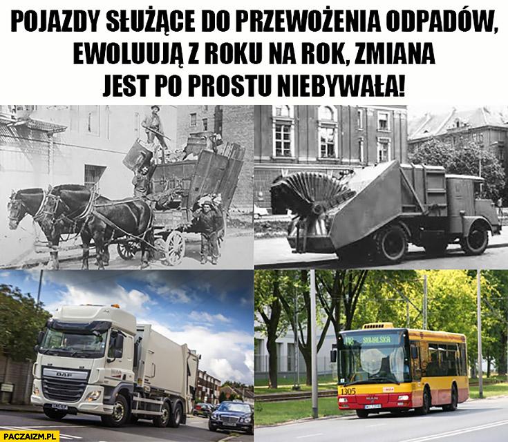 Pojazdy służące do przewożenia odpadów ewoluują z roku na rok, zmiana jest niebywała autobus miejski