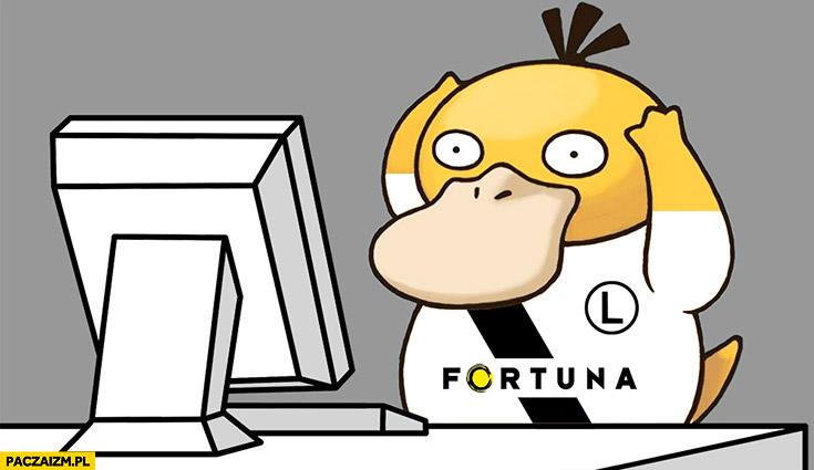 Pokemon Psyduck po losowaniu Legia Liga Mistrzów