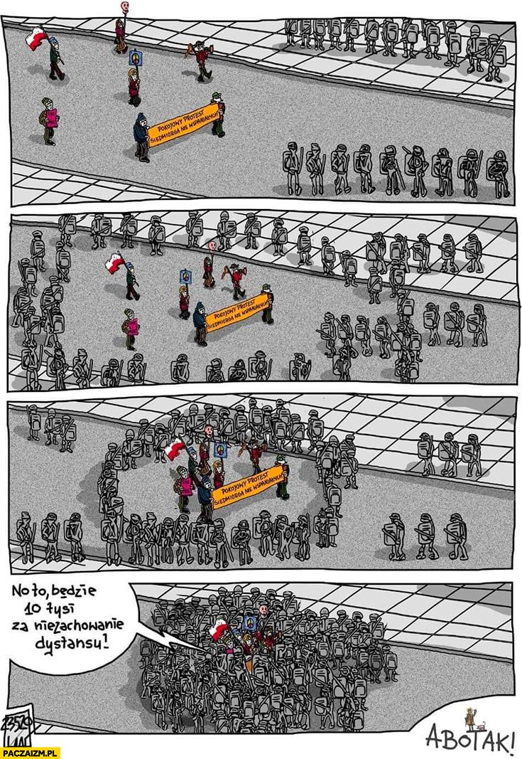 Pokojowy protest, policja ich otacza no to będzie 10 tysięcy kary za brak zachowania odstępu komiks