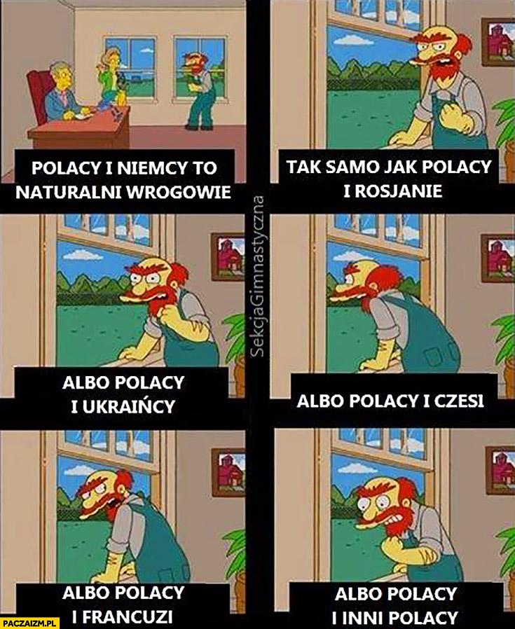 Polacy i Niemcy to naturalni wrogowie, jak Polacy i Rosjanie, albo Polacy i Ukraińcy, albo Polacy i Czesi, albo Polacy i Francuzi, albo Polacy i inni Polacy Simpsons