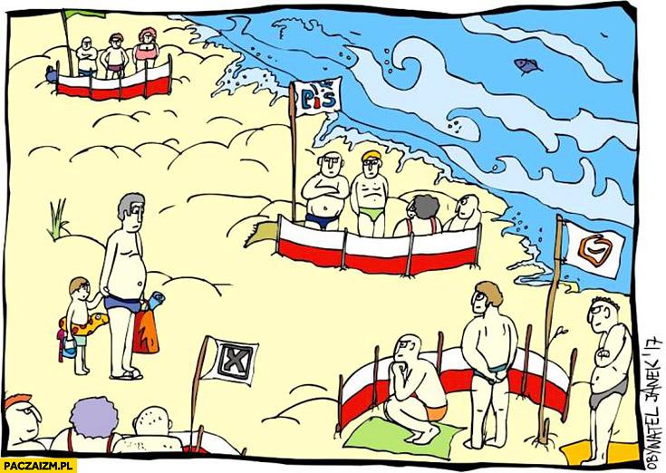 Polacy nad morzem parawany partie polityczne Obywatel Janek