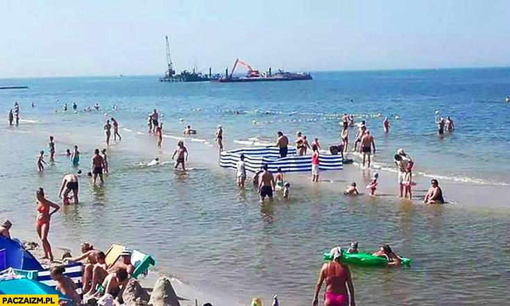Polacy parawan na morzu Janusze plaży Bałtyku
