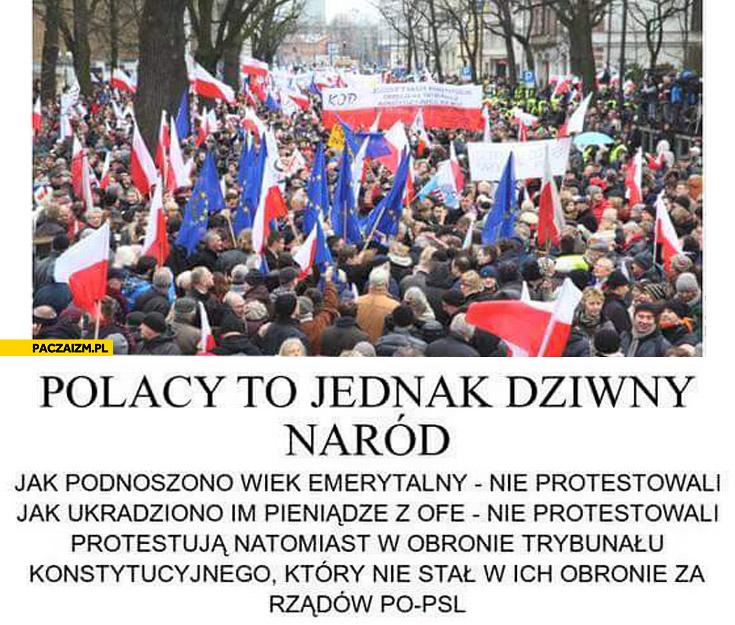 Polacy to jednak dziwny naród: podnoszono wiek emerytalny, kradziono pieniądze z OFE nie protestowali, protestują w obronie trybunału który nie stał w ich obronie