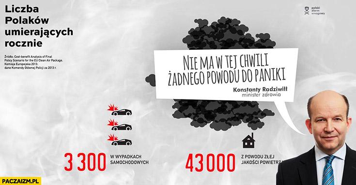 Polacy umierają z powodu smogu. Nie ma w tej chwili żadnego powodu do paniki Konstanty Radziwił Minister Zdrowia PiS cytat