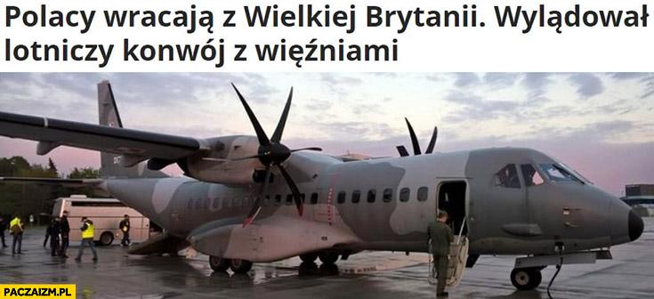 Polacy wracają z Wielkiej Brytanii wylądował lotniczy konwój z więźniami