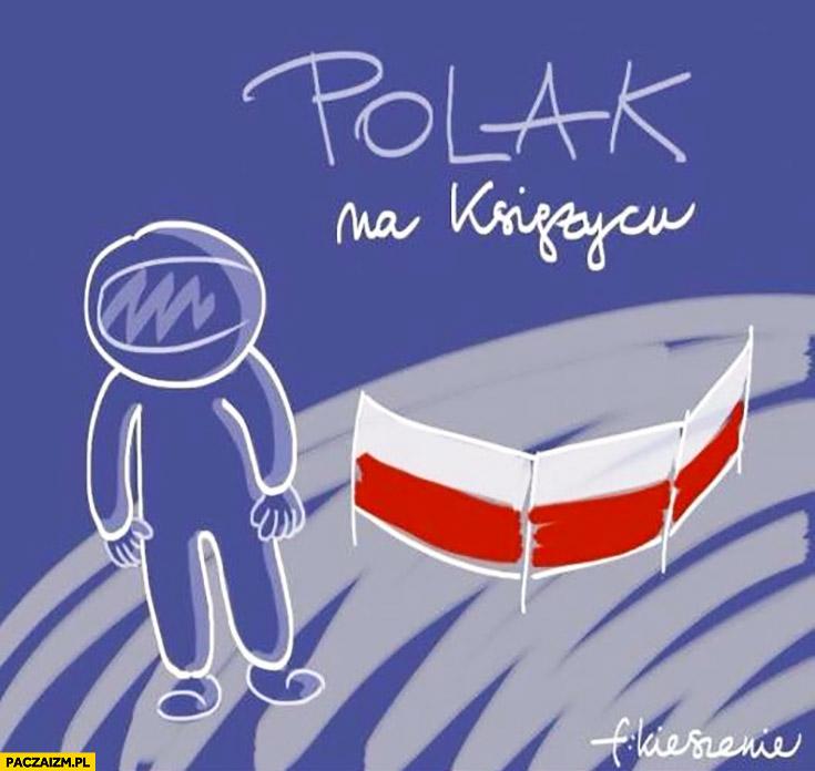 Polak na księżycu parawan flaga polski