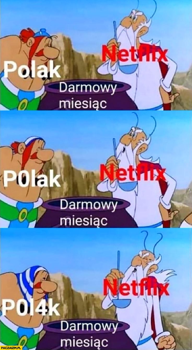 Polak Netflix przychodzi po darmowy miesiąc Obelix Panoramix kociołek