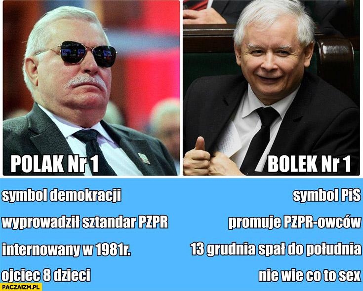 Polak nr 1 Bolek nr 1 Wałęsa Kaczyński symbol demokracji, wyprowadził promuje PZPR, internowany spał do południa