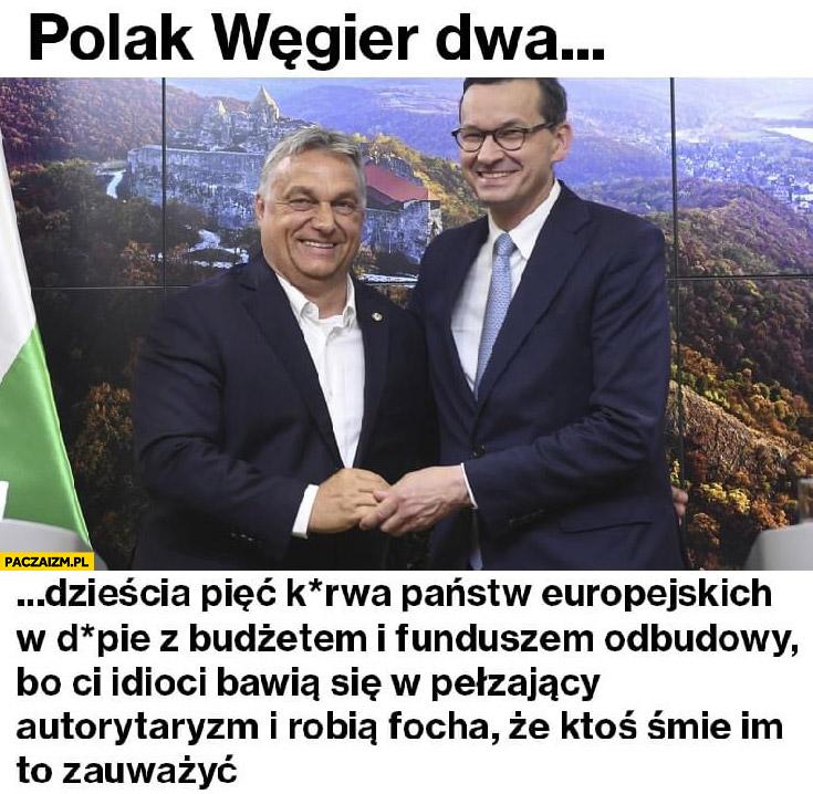 Polak Węgier dwa…dzieścia pięć państw w dupie z budżetem bo ci idioci bawią się w pełzający autorytaryzm Orban Morawiecki