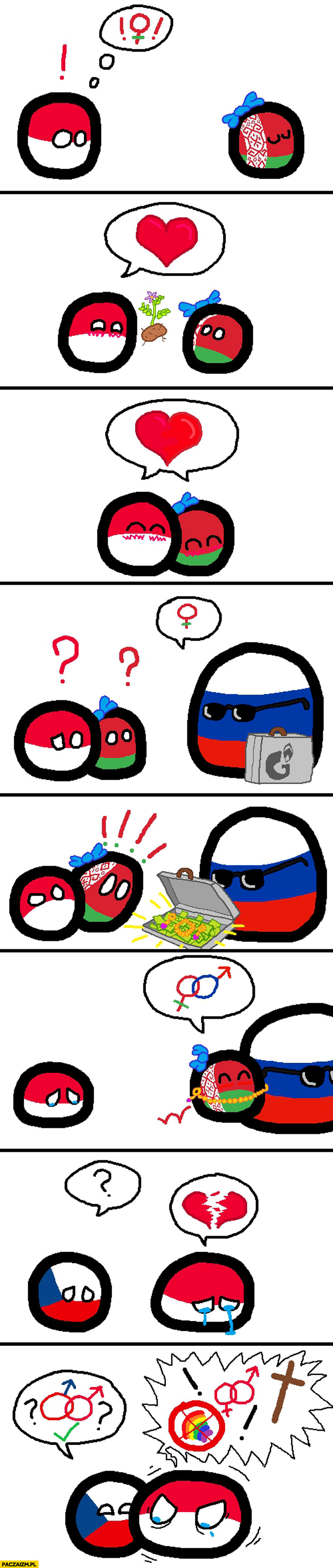 Polandball Polska Białoruś Rosja Czechy