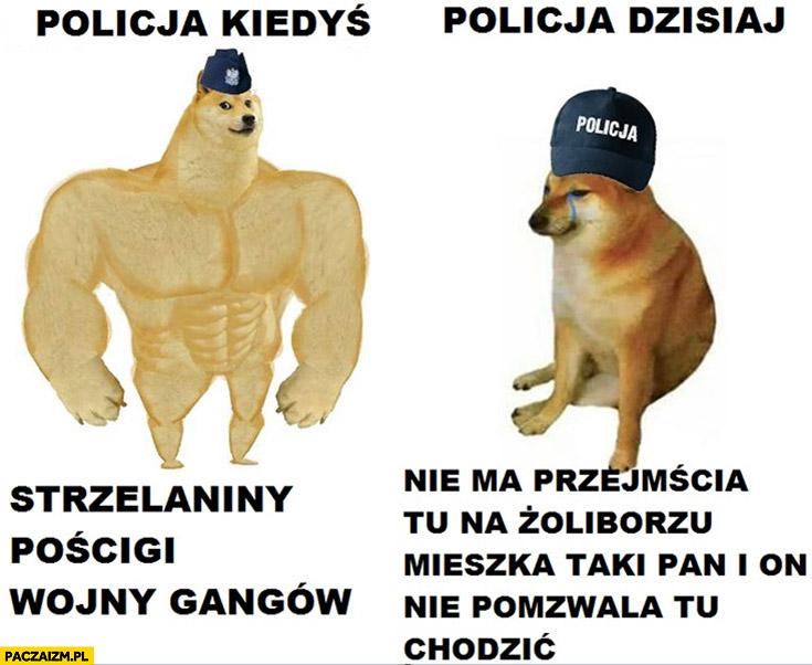 Policja kiedyś: strzelaniny, pościgi, wojny gangów, policja dzisiaj: nie ma przejscia tu na Żoliborzu mieszka taki pan i on nie pozwala tu chodzić pies pieseł doge