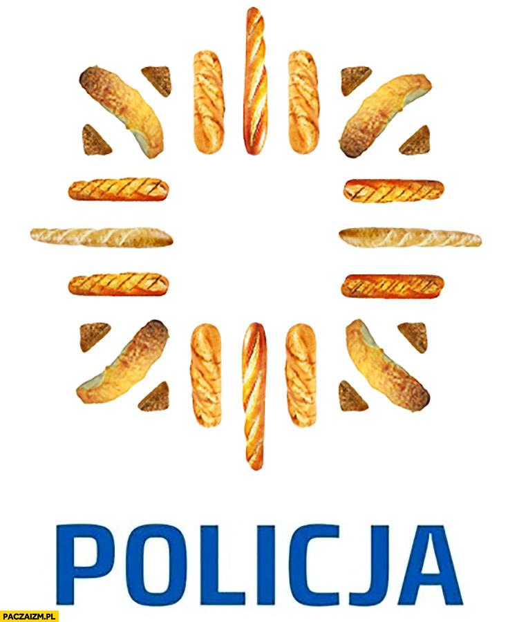 Policja logo z bagietek bagiety