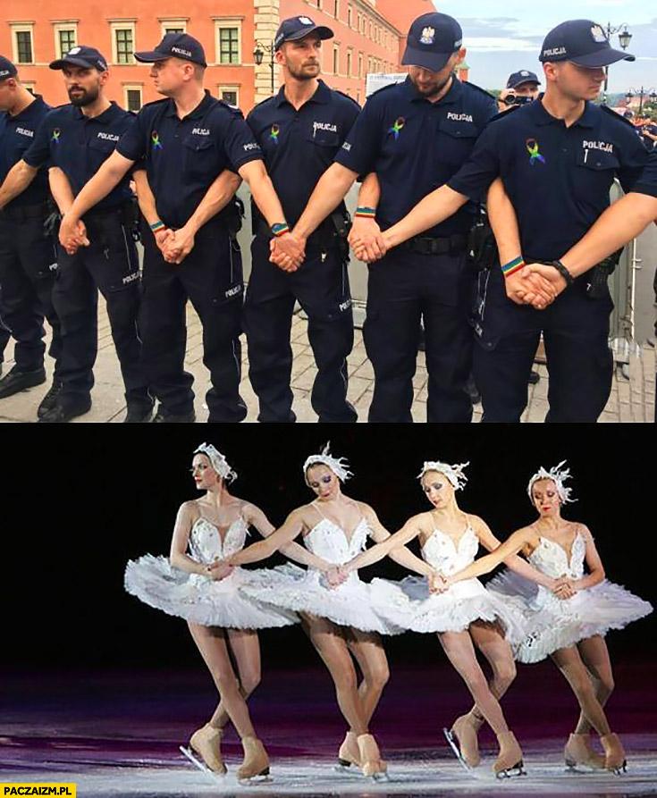 Policja policjanci mur jak baletnice jezioro łabędzie porównanie