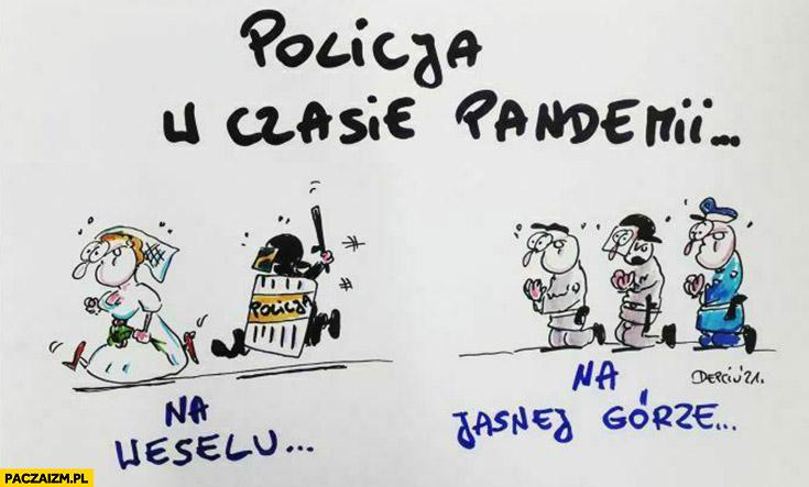 Policja w czasie pandemii na weselu vs na Jasnej Górze porównanie depciu
