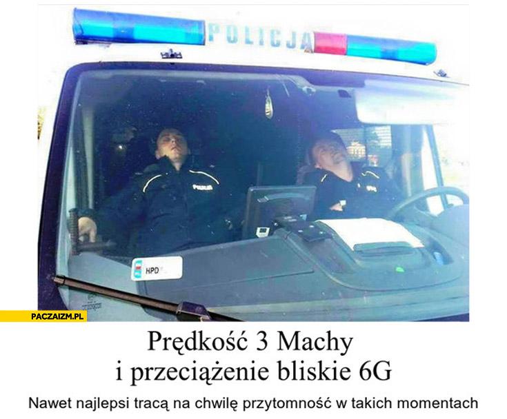 Policjanci śpiący na służbie prędkość 3 machy przeciazenie 6G
