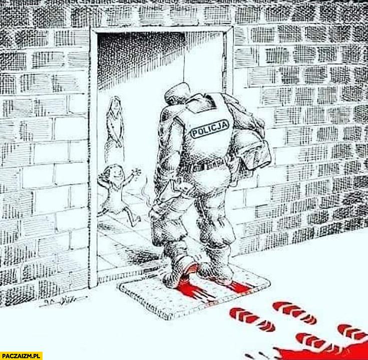 Policjant wraca do domu ślady krwi na butach