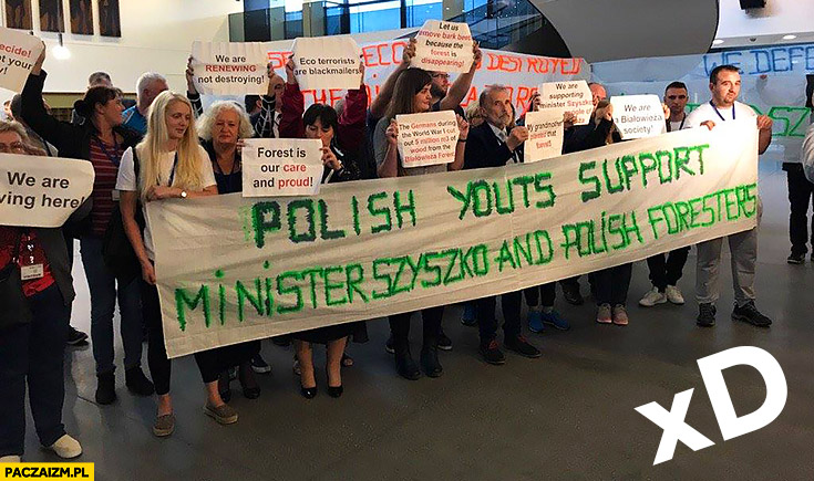 Polish youts support Minister Szyszko and polish foresters napis transparent fail