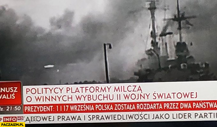 Politycy platformy milczą o winnych wybuchu II wojny światowej pasek Wiadomości TVP