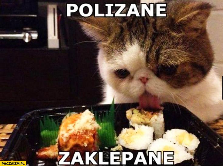 Polizane zaklepane kot sushi