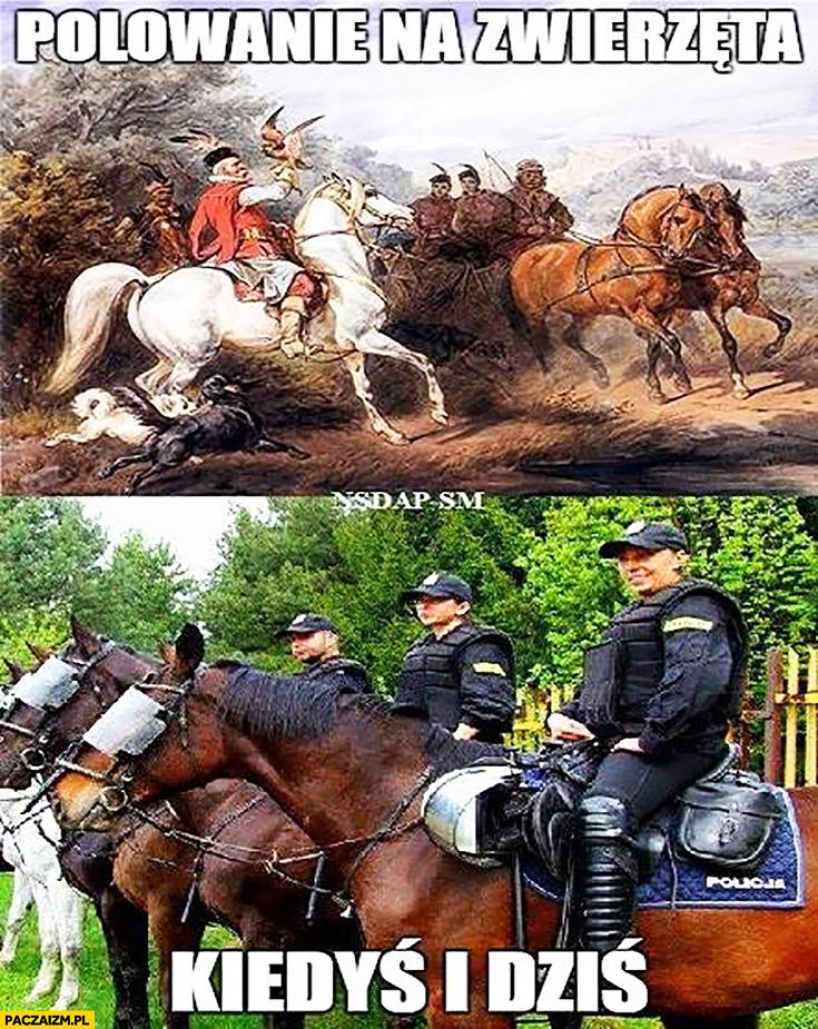 Polowanie na zwierzęta kiedyś i dziś: policja policjanci na koniach kibice kibole