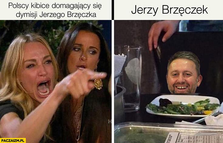 Polscy kibice domagający się dymisji Jerzego Brzęczka mem z kotem przeróbka