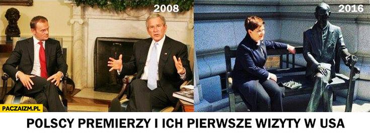 Polscy premierzy i ich pierwsze wizyty w USA: Tusk z Bushem, Szydło z pomnikiem