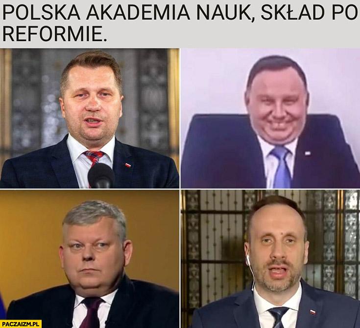 Polska akademia nauk, skład po reformie: Czarnek, Duda, Suski, Kowalski pis