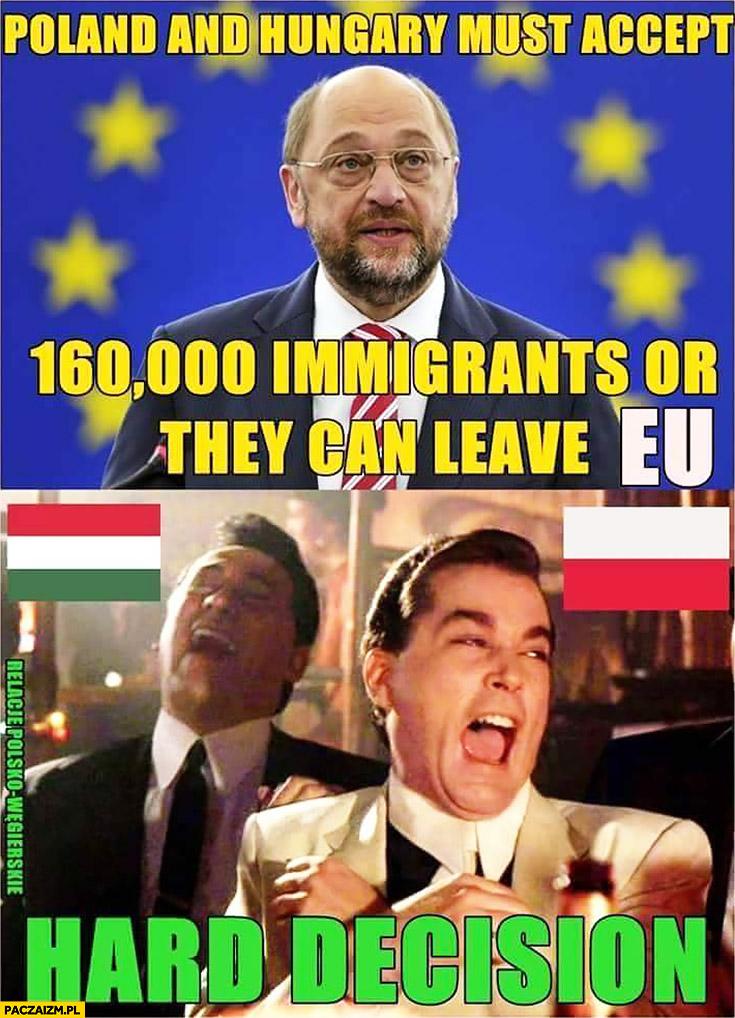 Polska i Węgry muszą zaakceptować 160 tys. imigrantów albo opuścić Unię Europejską ciężka decyzja