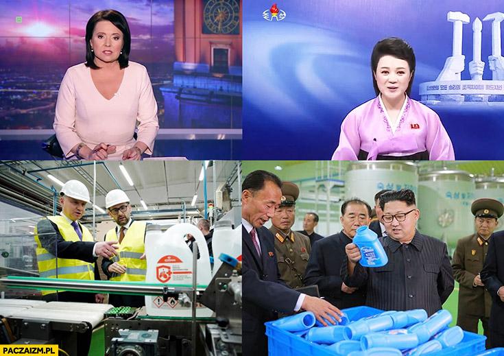 Polska jak Korea Północna Holecka jak prezenterka wiadomości Duda jak Kim Jong Un odwiedza fabrykę płynu