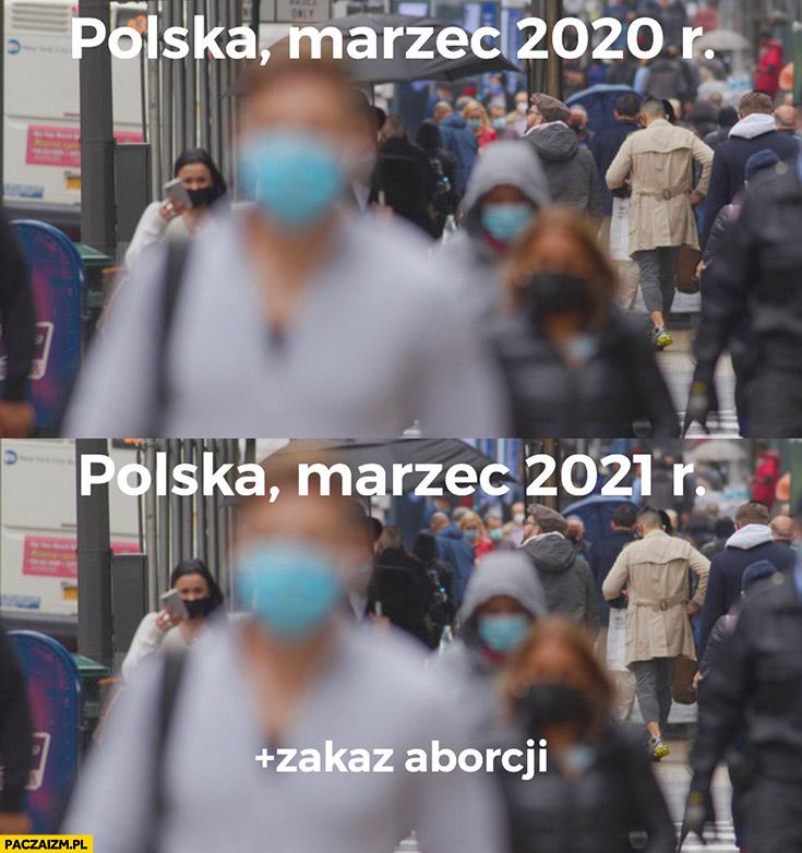 Polska marzec 2020 vs marzec 2021 to samo plus zakaz aborcji