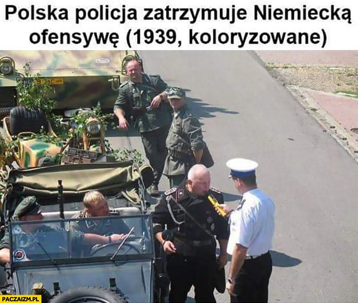 Polska policja zatrzymuje niemiecka ofensywę, 1939 koloryzowane dmucha alkomat