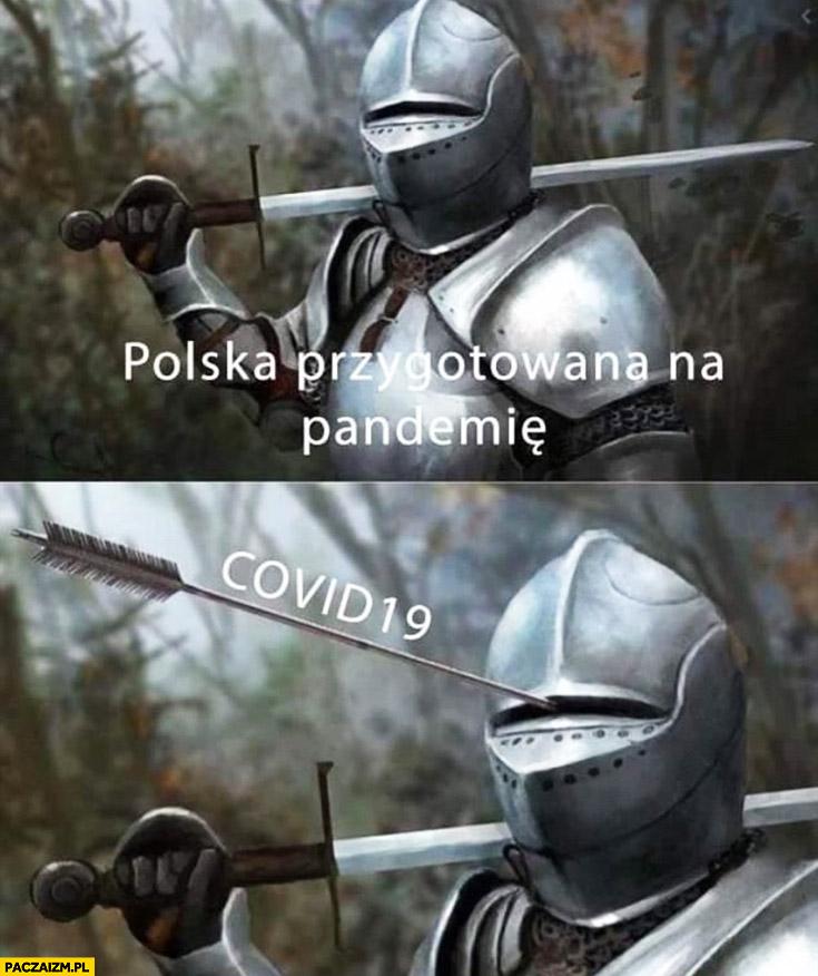 Polska przygotowana na pandemię Covid 19 rycerz trafiany strzałą przez otwór