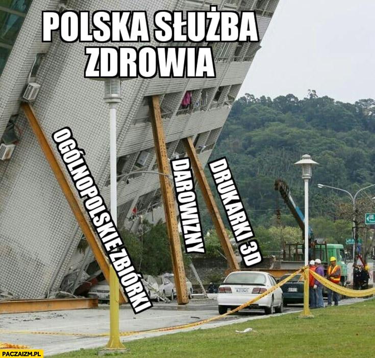 Polska służba zdrowia budynek podtrzymywany przed upadkiem zbiórkami, darowiznami, drukarkami 3D