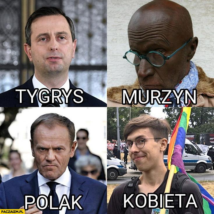 Polska Tusk Polak, Kosiniak tygrys, redaktor gazety murzyn, Margot kobieta