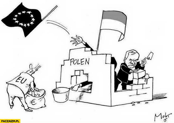 Polska wyrzuca flagę, bierze kasę z Unii Kaczyński buduje mur karykatura