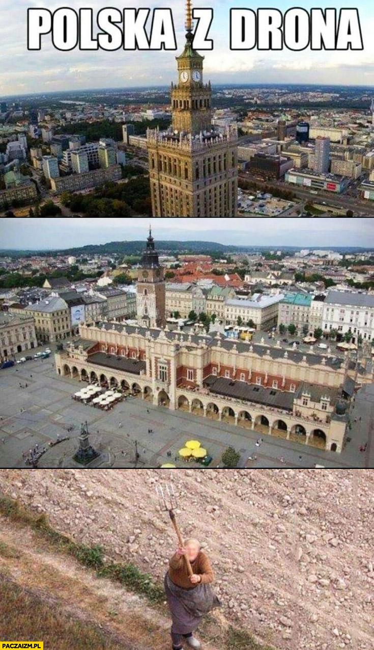 Polska z drona baba z widłami